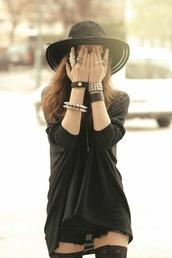 hat,shorts,blouse,jewels,black,black top,black shorts,black hat,top,jewelry,bangle,studded bangles,ring