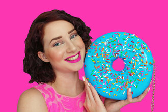 bag pink lipstick make-up donut food etsy