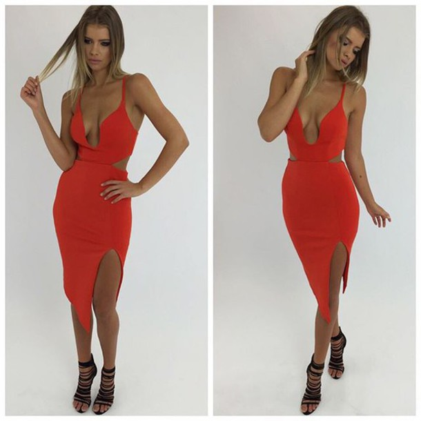 dress, red dress, bodycon, red bodycon, red formal dress, red prom ...