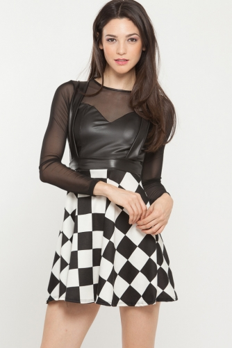 Checkered Leather Crisscross Skirt @ Cicihot Pants Online Store: sexy pants,sexy club wear,women's leather pants, hot pants,tight pants,sweat pants,white pants,black pants,baggy pants