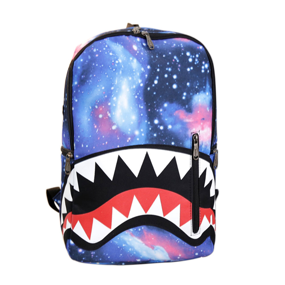 [grxjy5204195]Cute Cartoon Shark Teeth Print Canvas Backpack Unisex School Bag