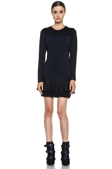 Isabel Marant|Adams Wool-Blend Dress in Black & Midnight