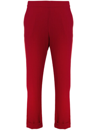black trousers cropped women black red pants