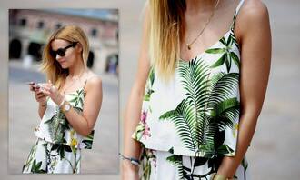 jumpsuit yeahbunny yeah bunny printed jumpsuit palm palm leaf palm tree print tropical printed palms coconut flowers floral printed jumper
