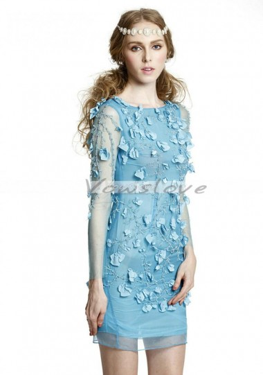 Graceful column square neck full sleeves tulle short bridesmaid dress with appliques vowslove.com