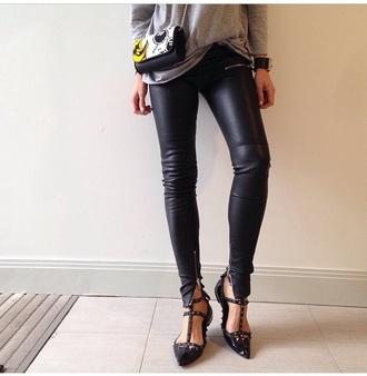black leather pants zipper