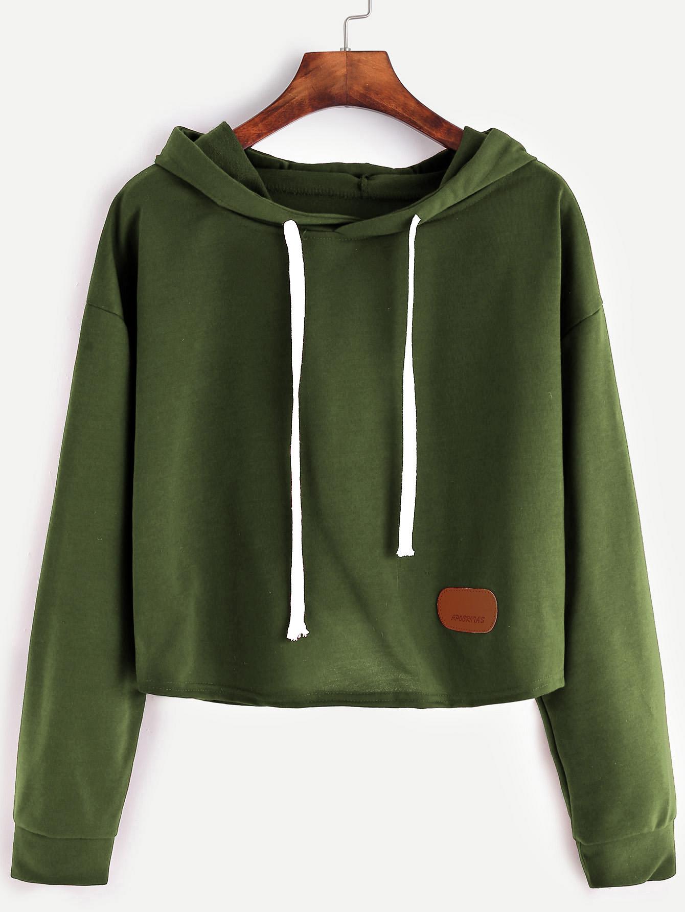 3d279bf9969 Army Green Hooded Patch Crop Sweatshirt -SheIn(Sheinside)