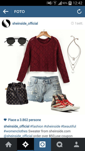 red sweater blouse cool