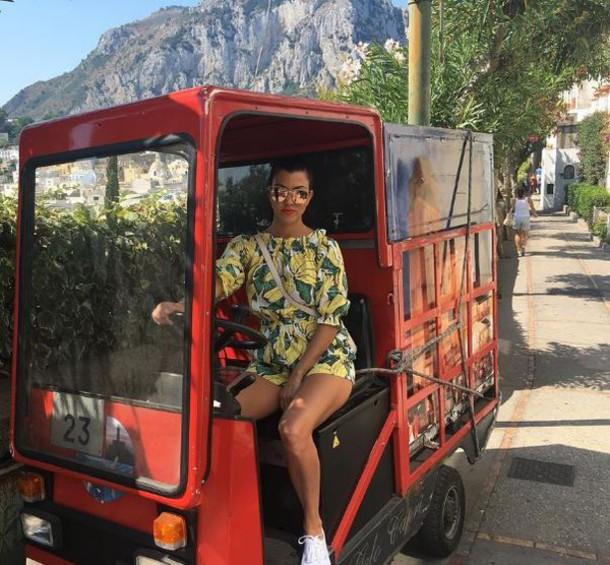 romper colorful summer summer outfits summer shorts kourtney kardashian instagram kardashians off the shoulder
