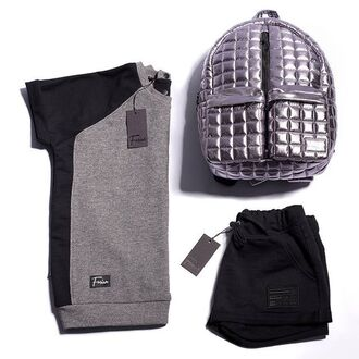 shorts short shorts black streetstyle streetwear fusion black shorts ootd style clothes bag backpack quilted silver backpack silver t-shirt sdad