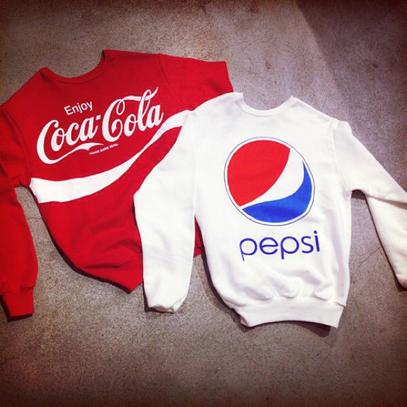 logo winter sweater coca cola pepsi print