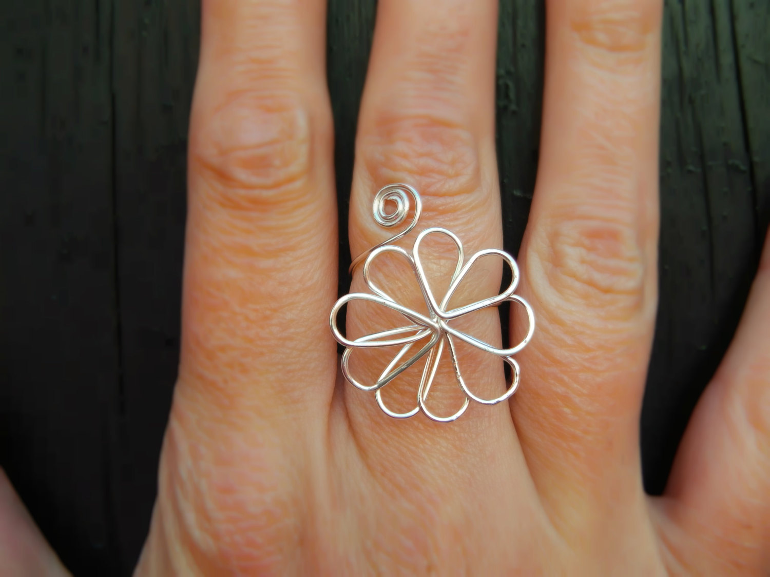 Flower Ring, Silver Wire Wrapped Ring, Flower Jewellery, Big Daisy ...