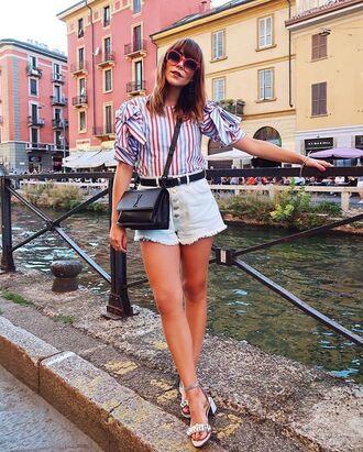 shorts top stripes white shorts belt sandals bag sunglasses