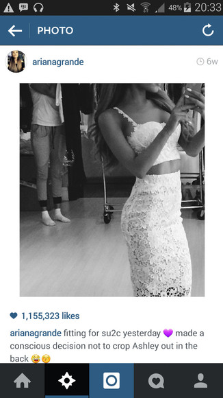 ariana grande crop top midi skirt lace dress lace lace cami lace skirt knee length white white crop tops white skirt
