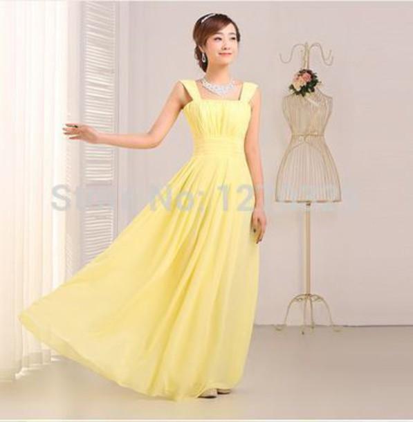 floor length yellow dress