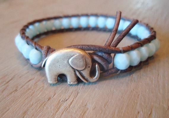 Beaded leather wrap bracelet baby elephant powder by slashknots