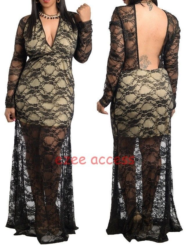 Women Plus Size Sheer Mesh Lace Open Backless Gown Long Sleeves MaXi ...