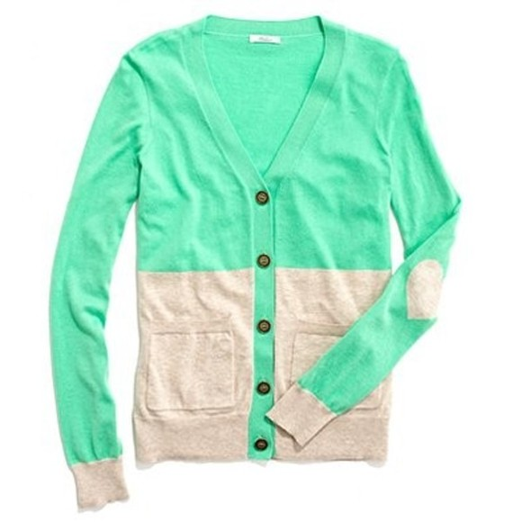 sweater elbow patch mint heart cardigan button down