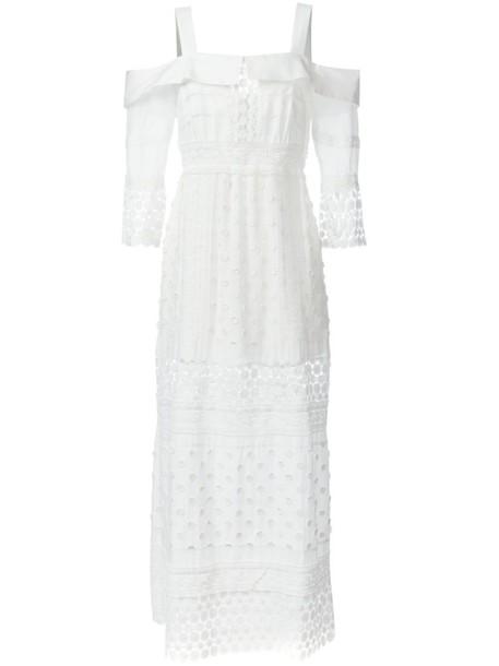 self-portrait dress maxi dress maxi long women white cotton