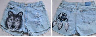 shorts wolf dreamcatcher cowboy ripped shorts