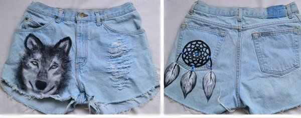 shorts wolf dreamcatcher cowboy ripped shorts