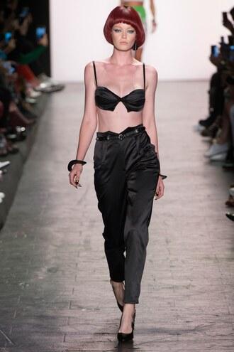 underwear bra bralette pants all black everything jeremy scott runway ny fashion week 2016