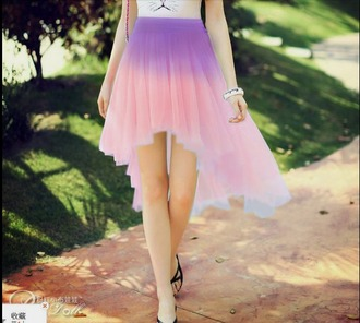skirt kawaii pink purple asymmetrical skirt