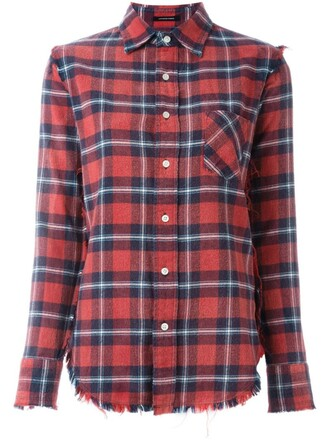 shirt plaid shirt plaid red top