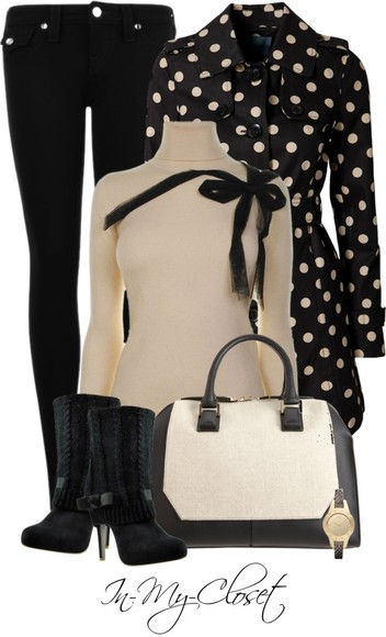 work work outfit sweater bow black creme polka dots