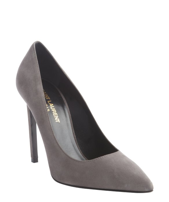 Saint Laurent grey suede pointed toe pumps | BLUEFLY up to 70% off designer brands