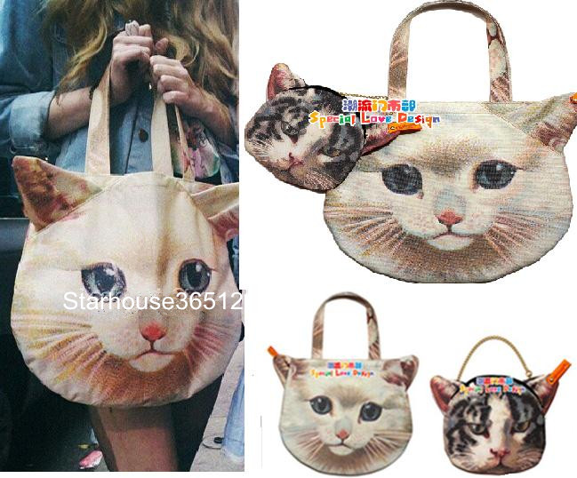 2 in 1 Set Celeb Muchacha Ahcahcum Cat Head Face Animal Tote Bag Handbag Purse | eBay