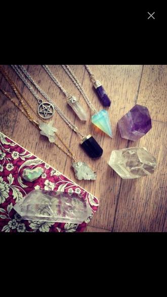 jewels diamonds pendant opal necklace opal pale crystal
