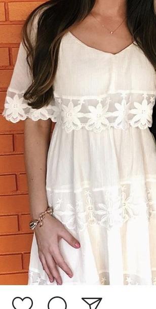 dress ivory embroider dress flowy dress