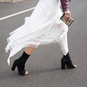 shoes,tumblr,black boots,peep toe boots,thick heel,block heels,sock boots