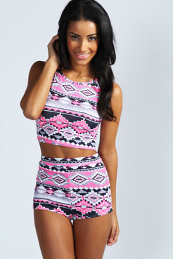 Mona Neon Highlight Aztec Print Knicker Shorts at boohoo.com