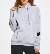 sweater,girly,grey,grey sweater,hoodie,heart,elbow patches