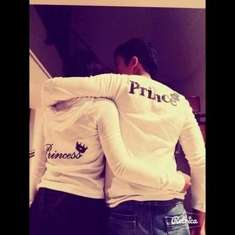 top white princess prince couples shirts
