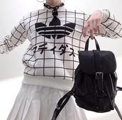 sweater,kawaii,black and white,grunge,grid,adidas,black,white,japanese fashion,korean fashion,kfashion,jewels