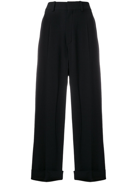 Chloe cropped women black silk pants