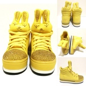 shoes,yellow,high top sneakers,sneakers,platform sneakers,wedge sneakers,girls sneakers,bunny,bun,platform shoes,stuffed animal,cute,lace-up shoes,lace up