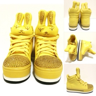 shoes yellow high top sneakers sneakers platform sneakers wedge sneakers girls sneakers bunny bun platform shoes stuffed animal cute lace-up shoes lace up