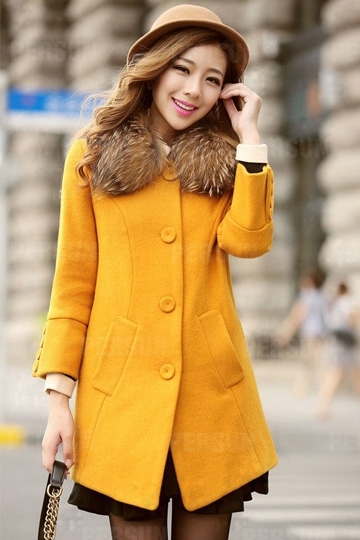 Fur Collar Pure Color Wool Coat [HT00011] - PersunMall.com
