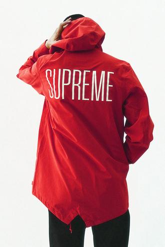 raincoat jacket red burgundy supreme supreme jacket windbreaker shirt menswear mens jacket swag