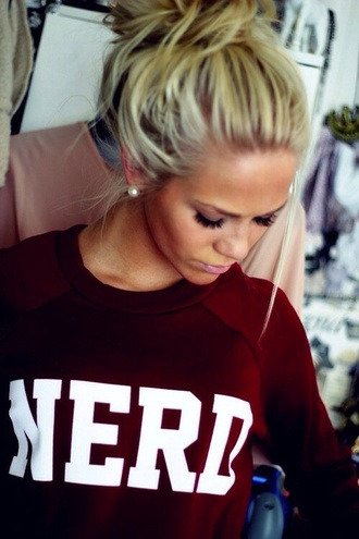 shirt nerd burgundy sweater hair/makeup inspo sweater sweatshirt