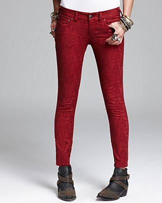 Free People Jeans - Vintage Jacquard Skinny in Cranberry | Bloomingdale's