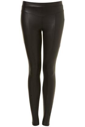 Black matt wetlook leggings