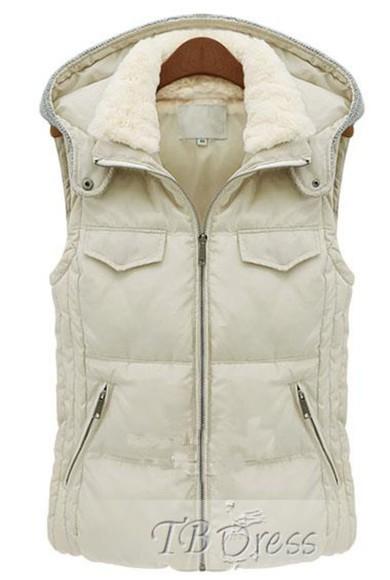 jacket zipper vest beige outwear tbdress-club tbdress