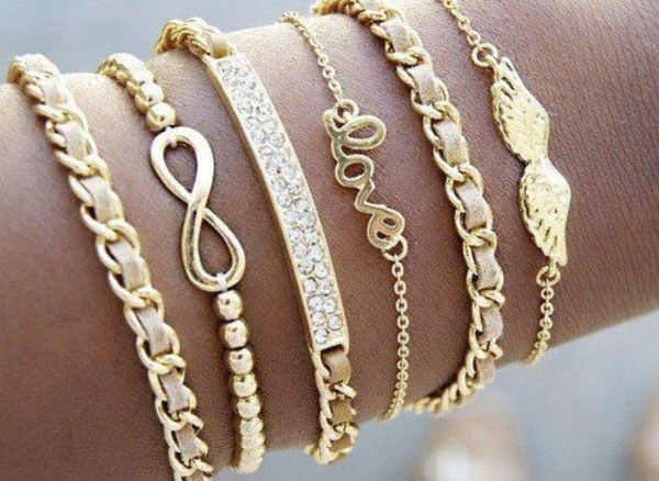 jewels gold bracelets gold sequins fashion style