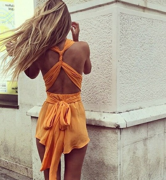 beach indie orange jumpsuit romper dungaree boho Playsuit playsuit