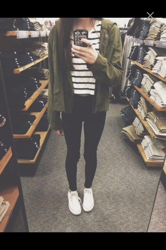 jacket jeans converse denim black black jeans striped shirt t-shirt top green jacket army green jacket striped sweater shirt